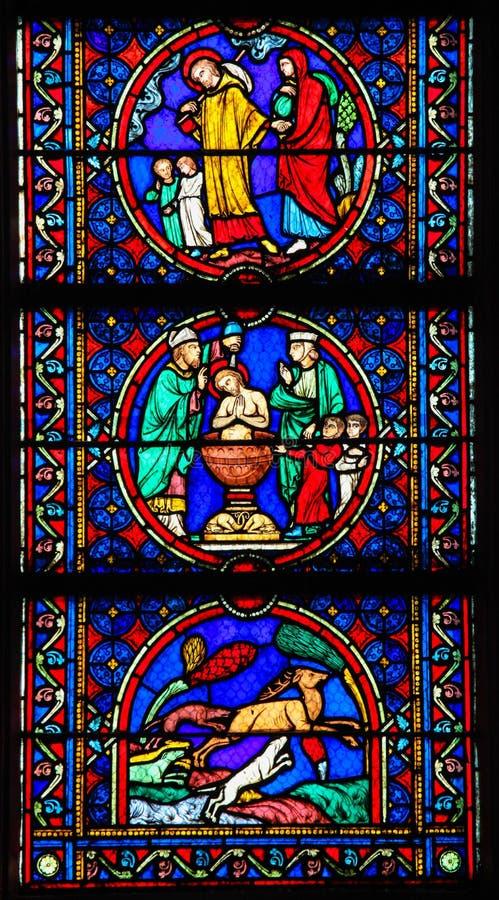 Målat glass - liv av Saint Joseph arkivbild