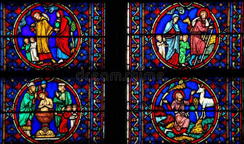 Målat glass - liv av Saint Joseph arkivfoton
