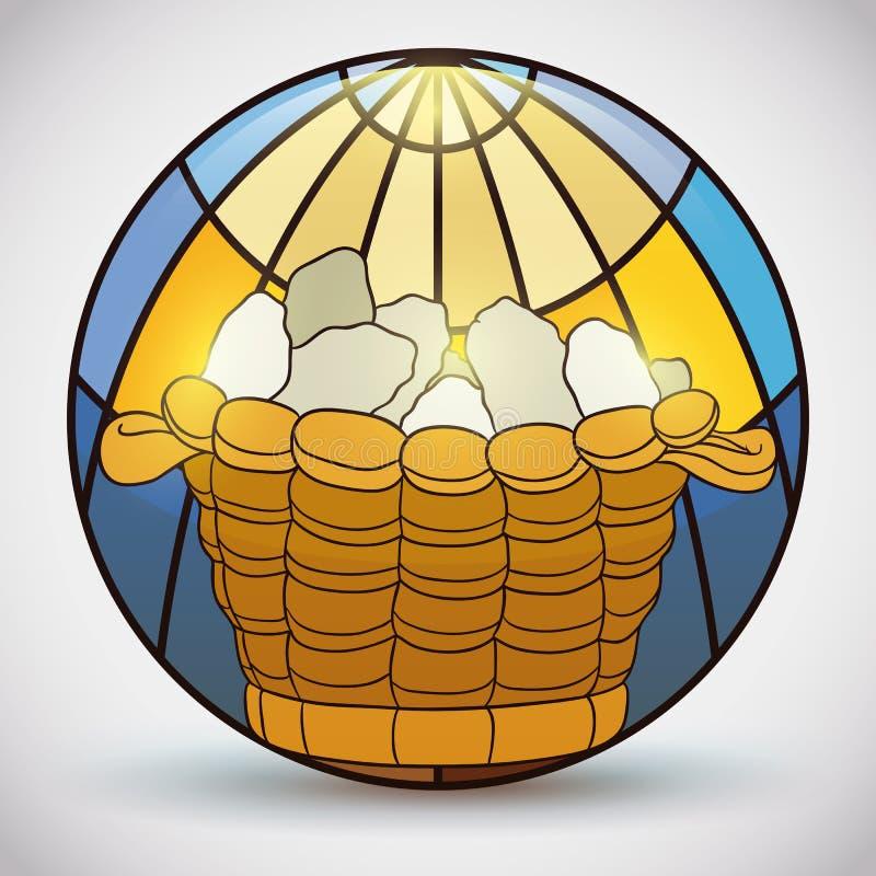 Målat glass med mirakel av bröd i en korg, vektorillustration royaltyfri illustrationer