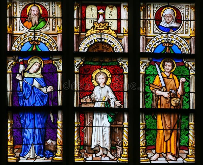 Målat glass - moder Mary, Jesus och Saint Joseph stock illustrationer