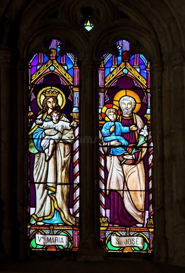 Målat glass - moder Mary och Saint Joseph, Jesuss föräldrar royaltyfri fotografi