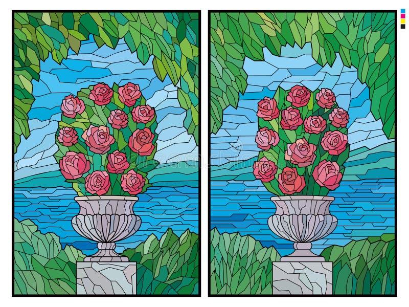 Målat glass steg busken i en blomkruka på bakgrunden av havet royaltyfri illustrationer