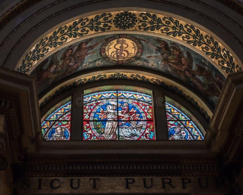 Målat glassfönster av den viktiga Carmelite Stella Maris mo arkivbilder