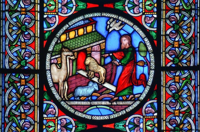 Målat glassfönster av djuren som går in i den Noahs tillflykten royaltyfria foton