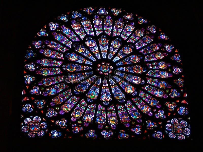 Målat glassfönster av domkyrkan av Paris royaltyfri bild