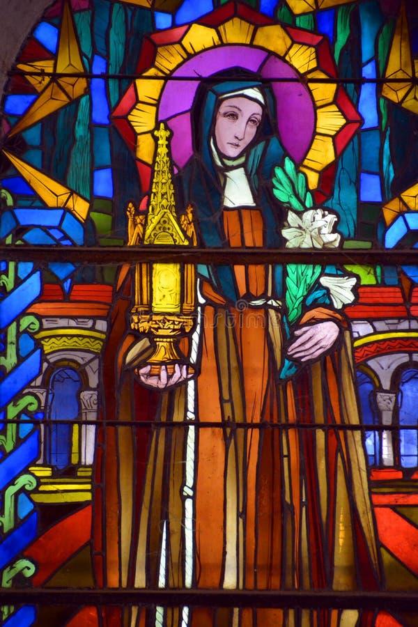 Målat glassfönster av helgonet Joseph Church royaltyfri fotografi