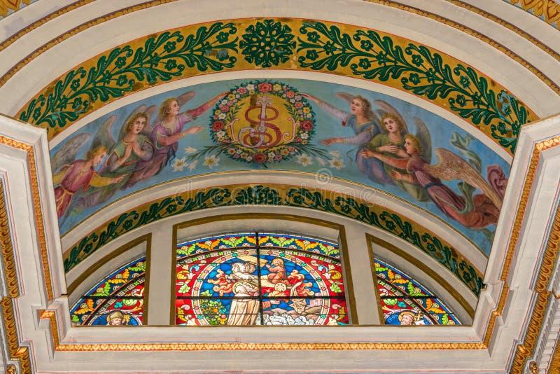Målat glassfönster i Stella Maris royaltyfri bild