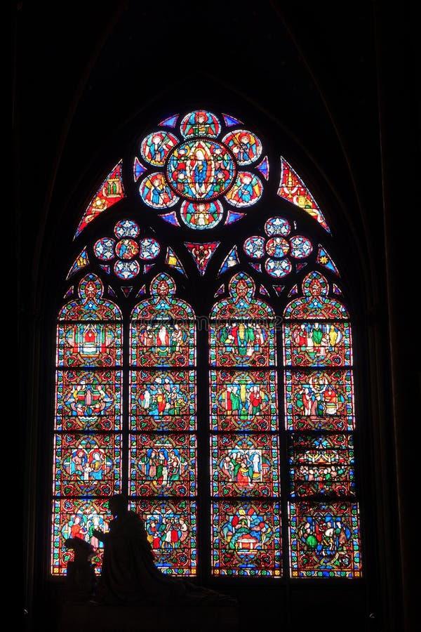 Målat glassfönster med konturn inre Notre Dame Cathedral royaltyfri foto