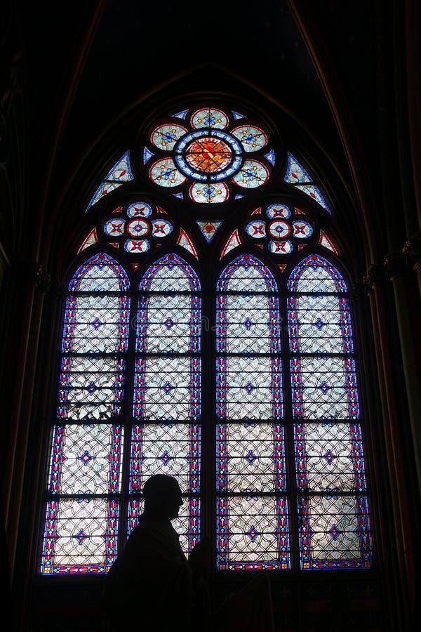 Målat glassfönster med konturn inre Notre Dame Cathedral royaltyfria bilder
