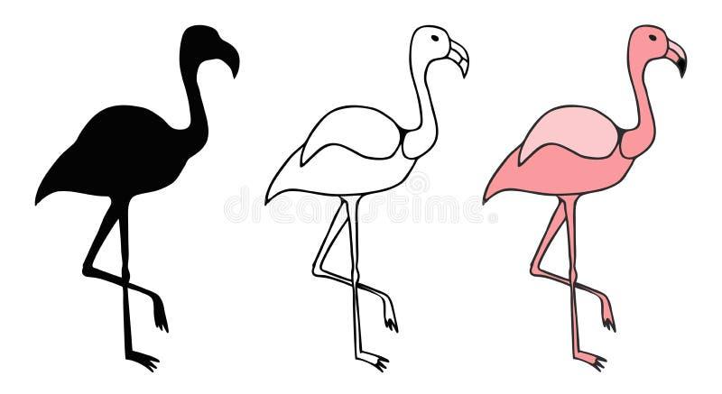 Målat glassfönstret av en flamingo är rosa royaltyfri illustrationer