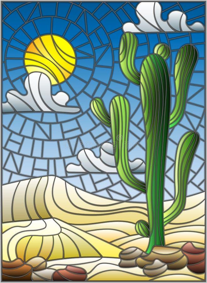 Målat glassillustration med ökenlandskap, kaktuns i en lbackground av dyn, himmel och solen royaltyfri illustrationer