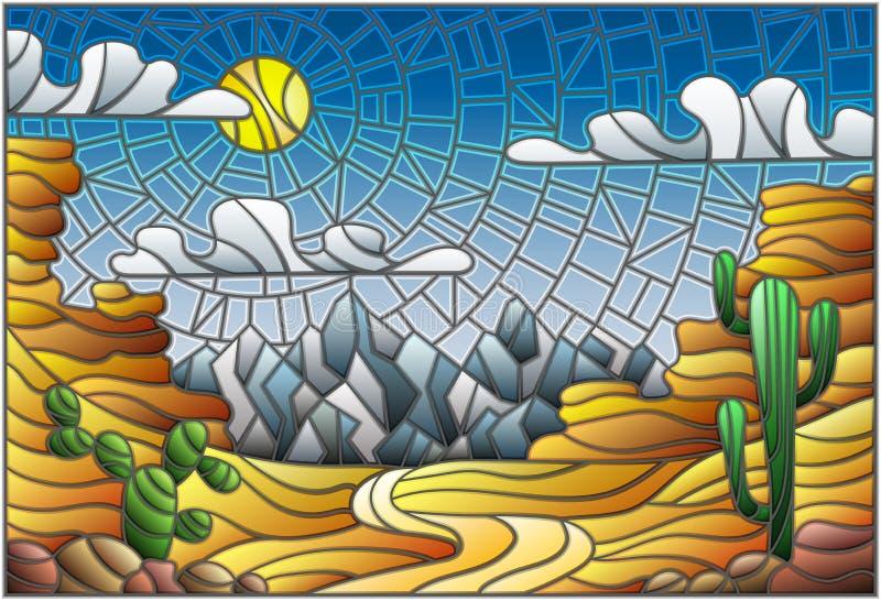 Målat glassillustration med ökenlandskap, kaktuns i en lbackground av dyn, himmel och solen vektor illustrationer