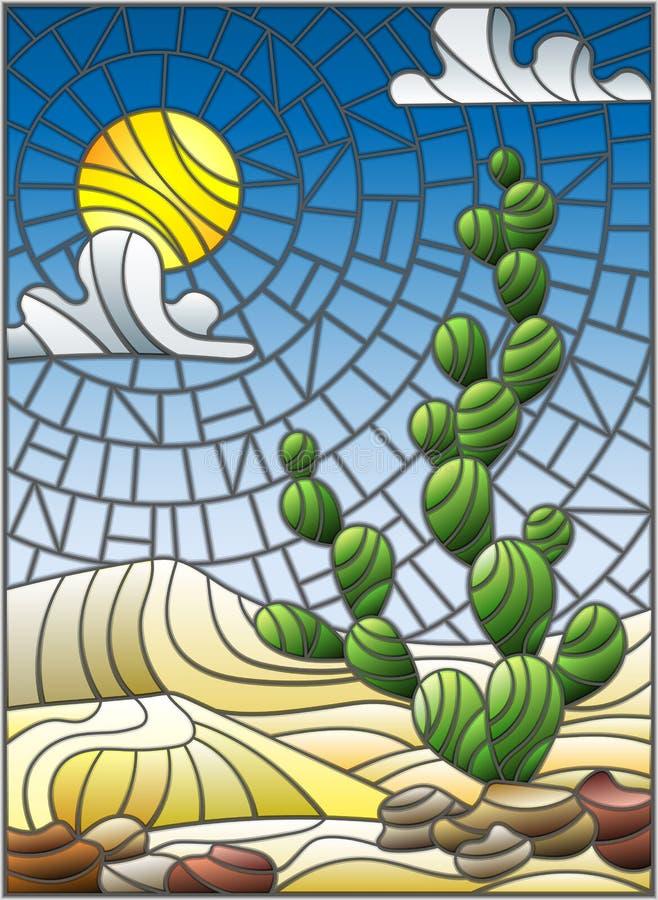 Målat glassillustration med ökenlandskap, kaktuns i en lbackground av dyn, himmel och solen stock illustrationer