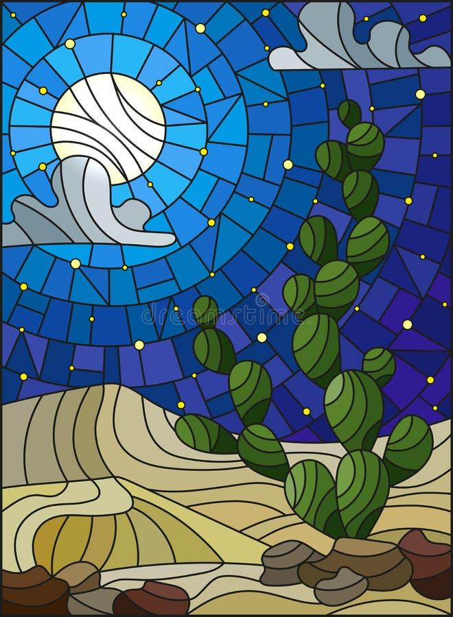 Målat glassillustration med ökenlandskap, kaktuns i en lbackground av dyn, stjärnklar himmel och månen royaltyfri illustrationer