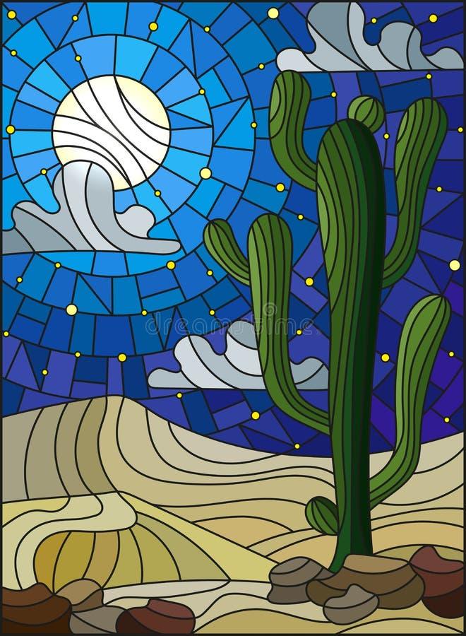 Målat glassillustration med ökenlandskap, kaktuns i en lbackground av dyn, stjärnklar himmel och månen vektor illustrationer