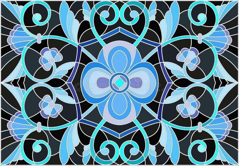 Målat glassillustration med abstrakt begreppvirvlar, blommor och sidor på en svart bakgrund, horisontalriktning royaltyfri illustrationer