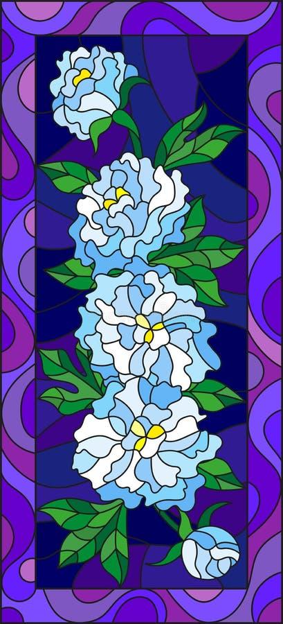 Målat glassillustration med blommor, knoppar och sidor av vita pioner på en blå bakgrund i den ljusa ramen, vertikal orientati vektor illustrationer