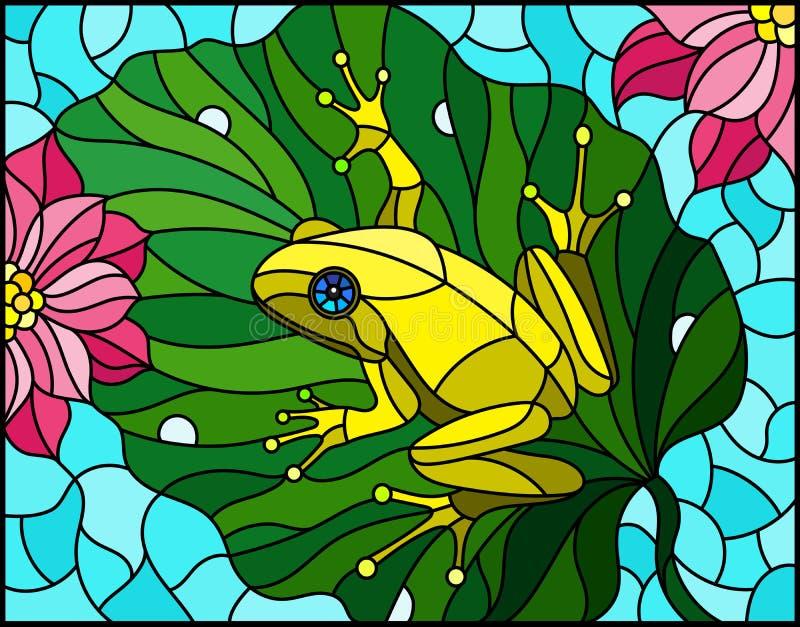 Målat glassillustration med den abstrakta grodan på det Lotus bladet på vatten och blommor vektor illustrationer
