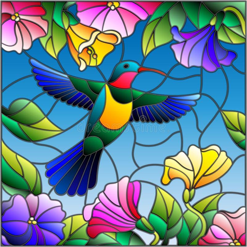 Målat glassillustration med den färgrika kolibrin på bakgrund av himlen, grönskan och blommorna vektor illustrationer