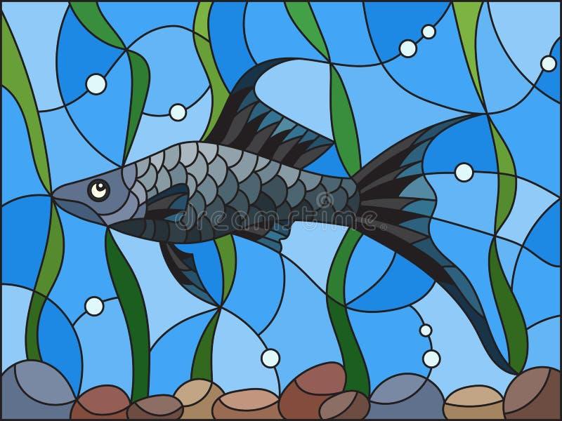 Målat glassillustration med den mörka mollienesiafisken på bakgrunden av vatten och alger vektor illustrationer