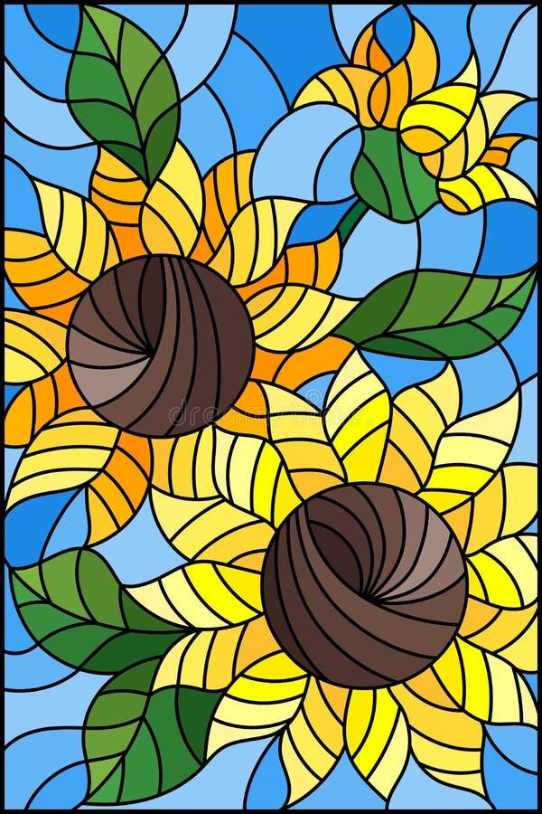 Målat glassillustration med en bukett av solrosor, blommor, knoppar och sidor av blomman på blå bakgrund royaltyfri illustrationer