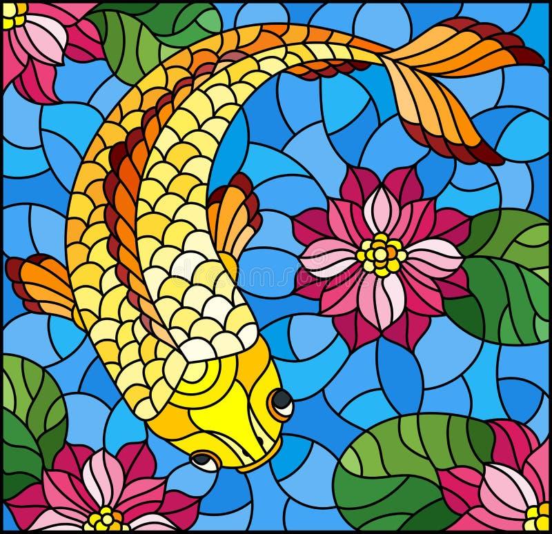 Målat glassillustration med en guldfisk på en bakgrund av rosa lotusblommor och vatten royaltyfri illustrationer