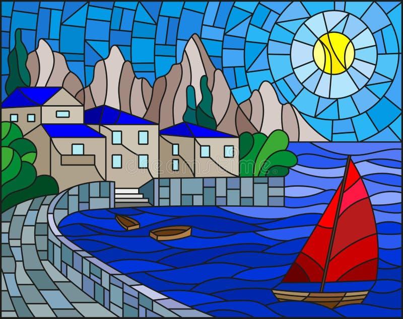 Målat glassillustration med en segelbåt på bakgrunden av fjärden med staden, havet och solen av daghimlen royaltyfri illustrationer