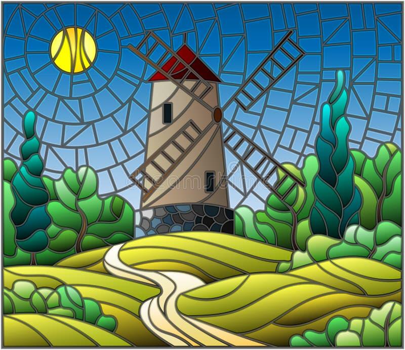 Målat glassillustration med en väderkvarn på en bakgrund av himmel och solen stock illustrationer