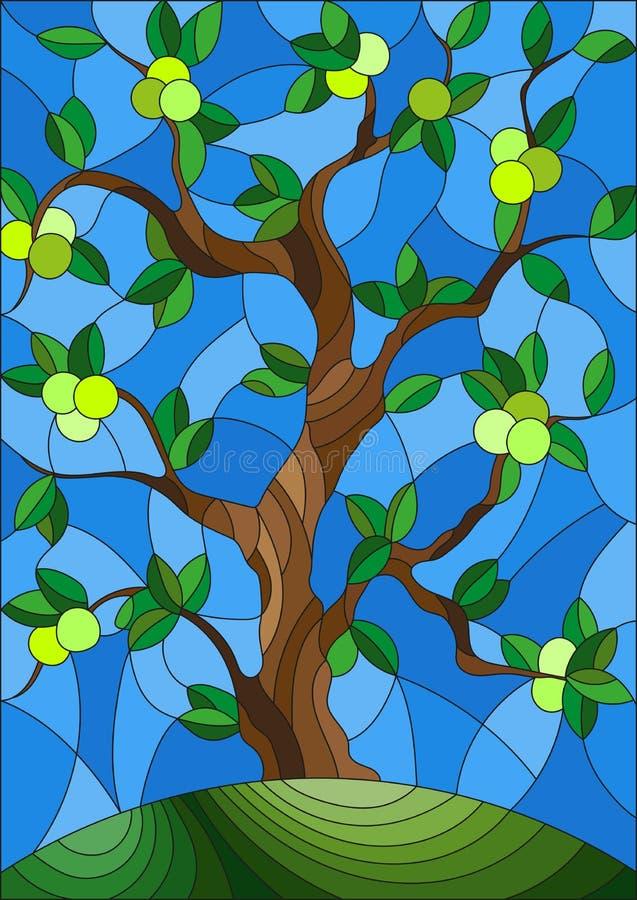 Målat glassillustration med ett äppleträd som bara står på en kulle mot himlen vektor illustrationer