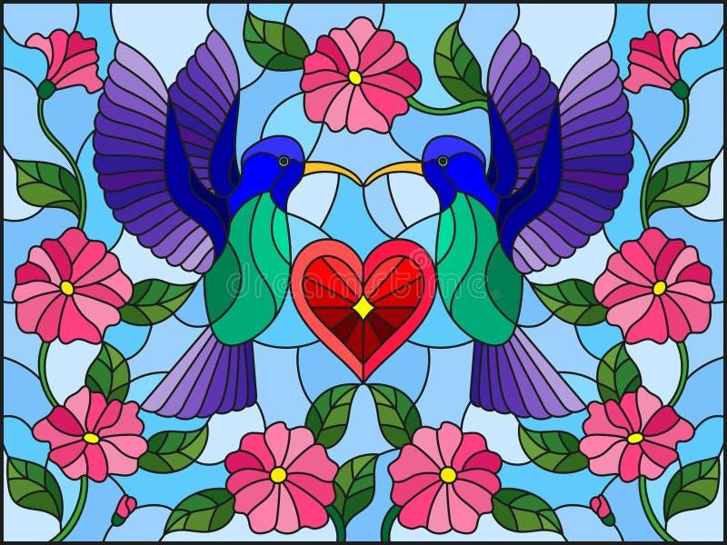Målat glassillustration med ett par av kolibrier och en hjärta mot himlen och blommorna stock illustrationer