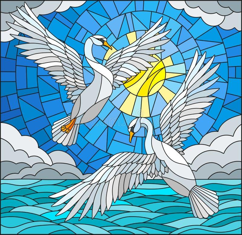 Målat glassillustration med ett par av svanar på bakgrunden av det daghimlen, vattnet och molnen royaltyfri illustrationer