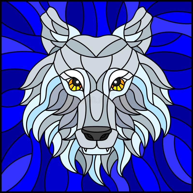 Målat glassillustration med ett vitt polart varghuvud, på blå bakgrund, fyrkantig bild vektor illustrationer