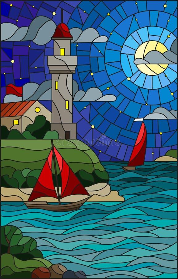 Målat glassillustration med havssikt, tre skepp och en kust med en fyr i bakgrunden av molnet för stjärnklar natt, mu vektor illustrationer