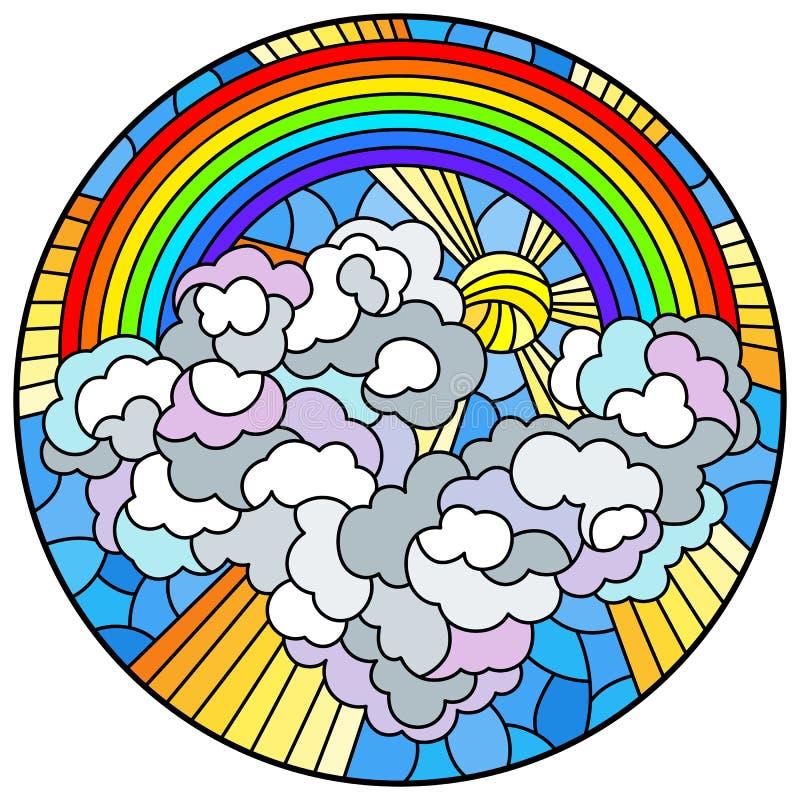 Målat glassillustration med himmelskt landskap, solen och moln på regnbågebakgrund, rund bild stock illustrationer