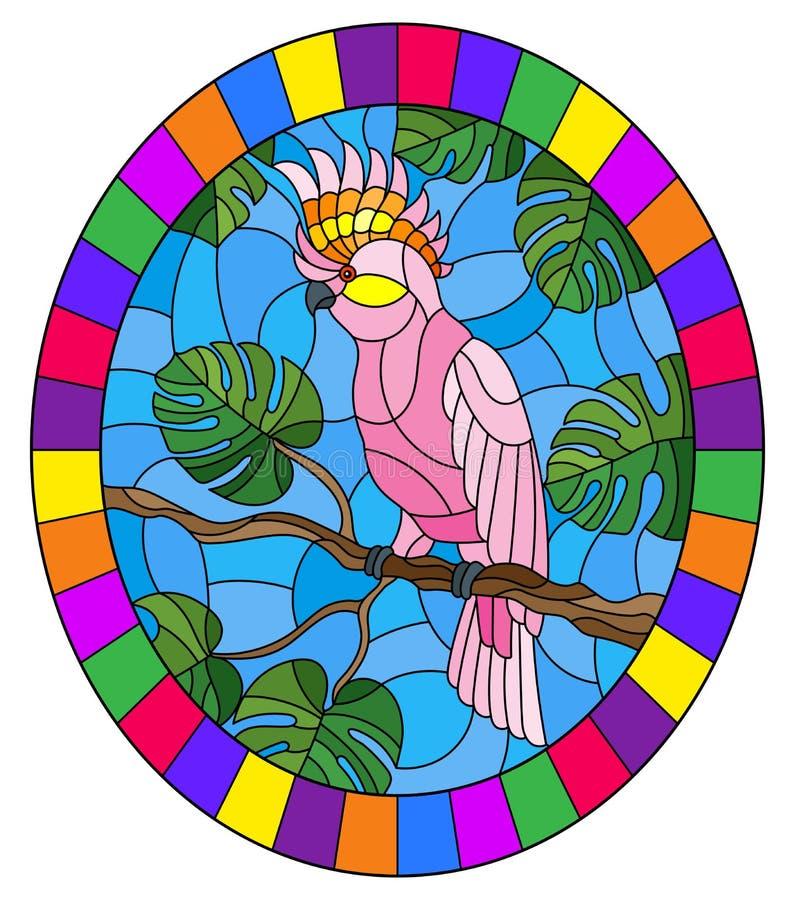 Målat glassillustration med parakiter för rosa kakadua för fågel på tropiskt träd för filial mot himlen, oval bild i ljus  royaltyfri illustrationer