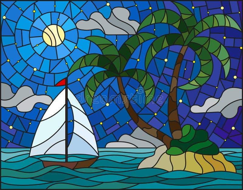 Målat glassillustration med seascapen, tropisk ö med palmträd och en segelbåt på en bakgrund av havet, måne och royaltyfri illustrationer