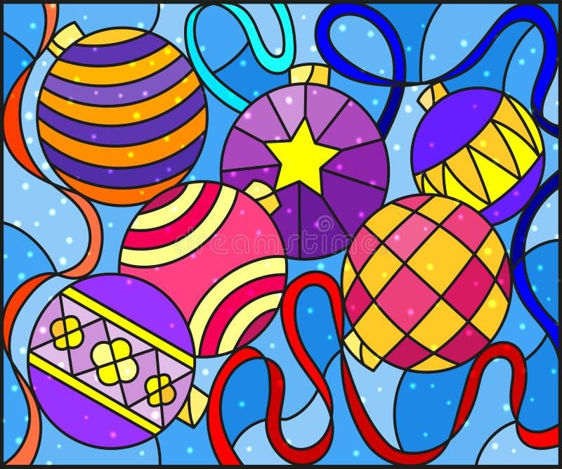 Målat glassillustration med stilleben av leksaker för nytt år och slingrande vektor illustrationer