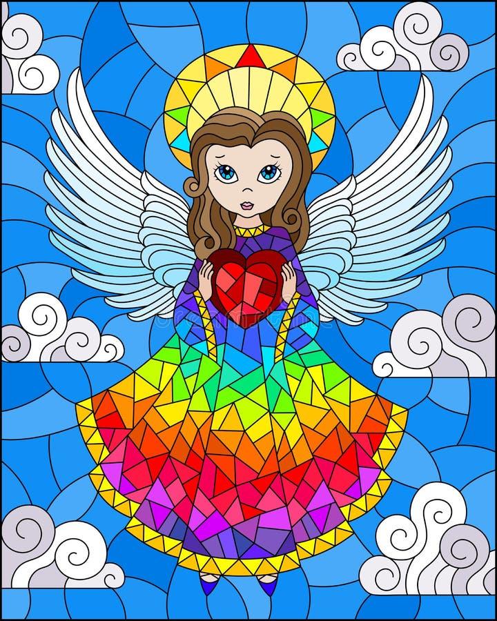 Målat glassillustration med tecknad filmregnbågeängel med hjärta i händer mot den molniga himlen royaltyfri illustrationer