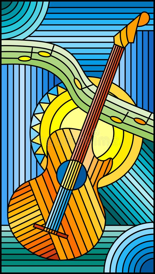 Målat glassillustration på temat av musik, den abstrakta gitarren och anmärkningar på en blå bakgrund stock illustrationer