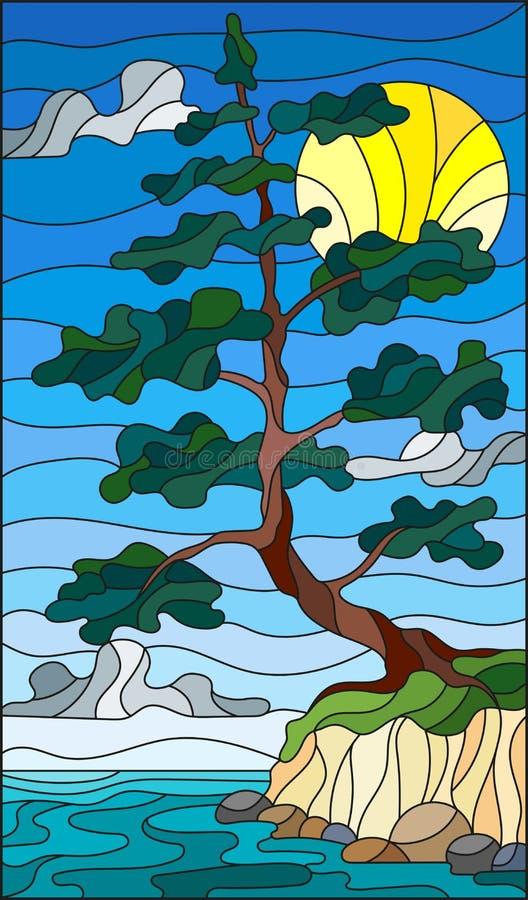 Målat glassillustrationen med ett ensamt sörjer trädanseende på banken på bakgrunden av himmel, solen och vatten royaltyfri illustrationer