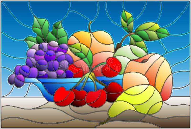 Målat glassillustrationen med stilleben, frukter och bär i blått bowlar royaltyfri illustrationer