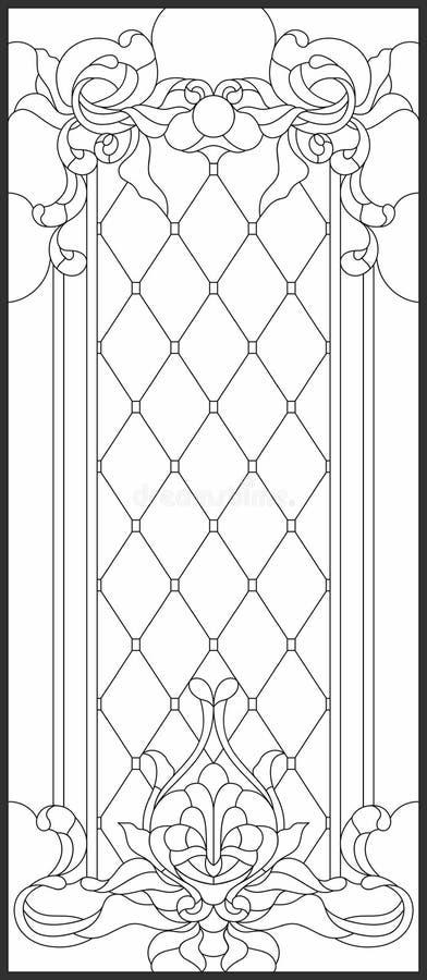 Målat glasspanel i en rektangulär ram Dekorativ design av fönstret eller dörren stock illustrationer