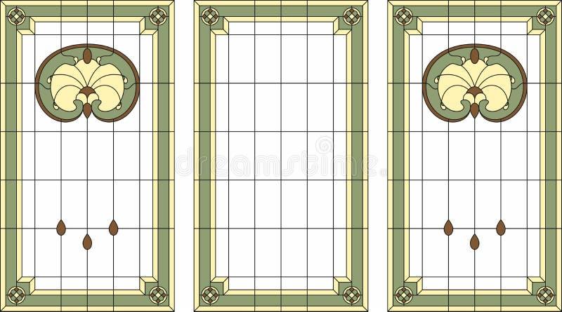 Målat glasspanel i en rektangulär ram Klassiskt fönster, abstrakt blom- ordning av knoppar och sidor i jugendstilstylen royaltyfri illustrationer
