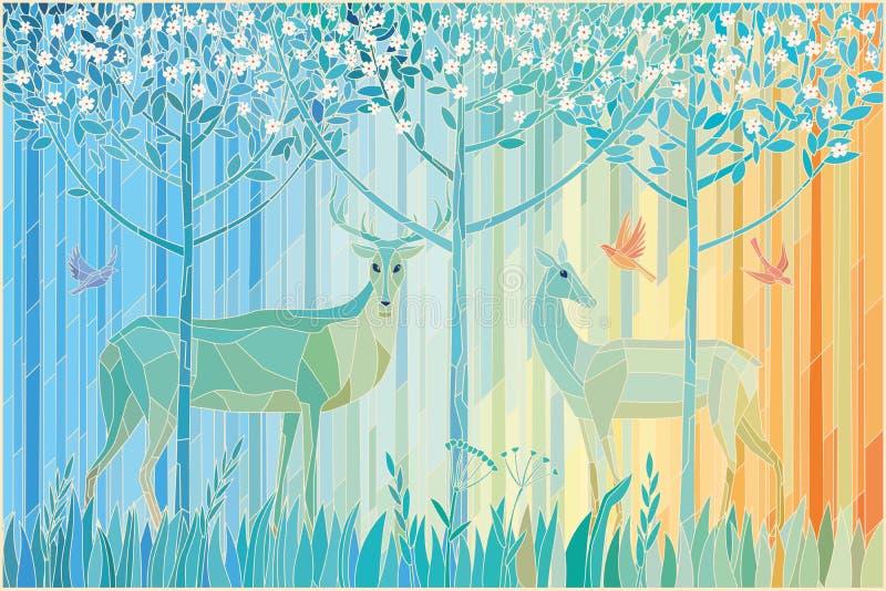 Målat glasspar av skogen för hjortar på våren vektor illustrationer