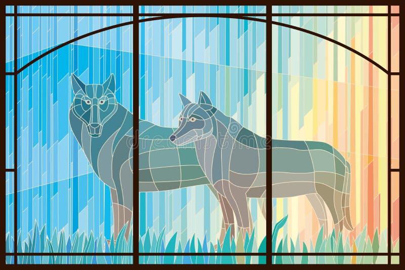 Målat glasspar av varger i en ram royaltyfri illustrationer