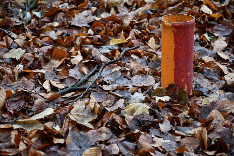 Målat i rött och orange färgmetallrör bland nedgångsidor fotografering för bildbyråer