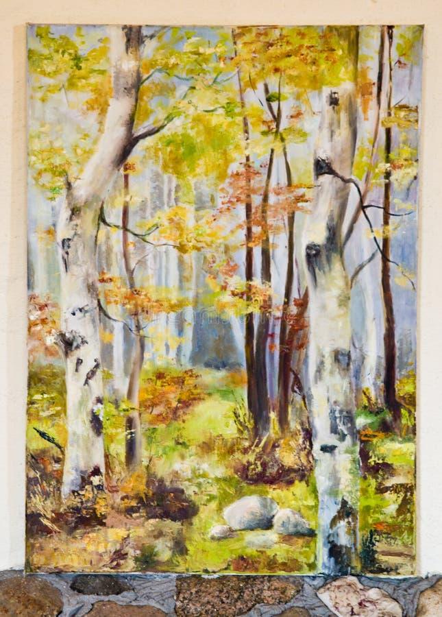 Målat konstverk - skog för björkträd på kanfas royaltyfri illustrationer