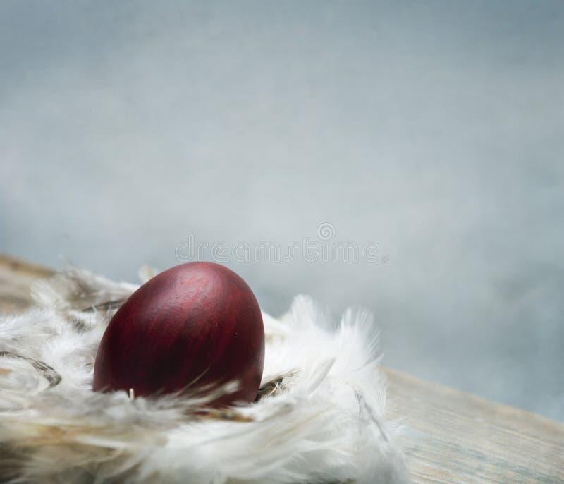 Målat rött easter ägg i rede för fågelfjäder över tappningblått ar fotografering för bildbyråer