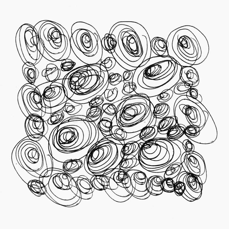 Målat svartabstrakt begrepp cirklar bubblor som isoleras på stock illustrationer