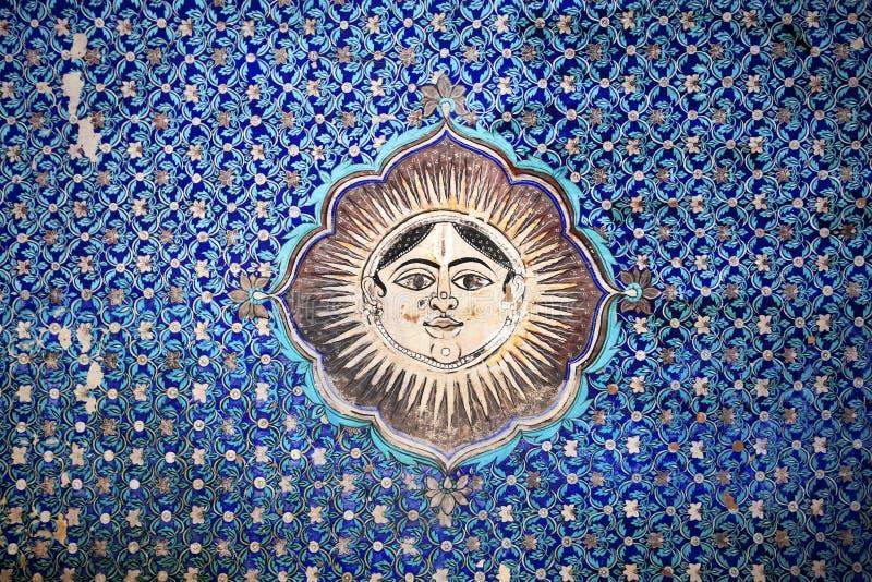 Målat tak av den Bundi slotten i norr Indien royaltyfria bilder